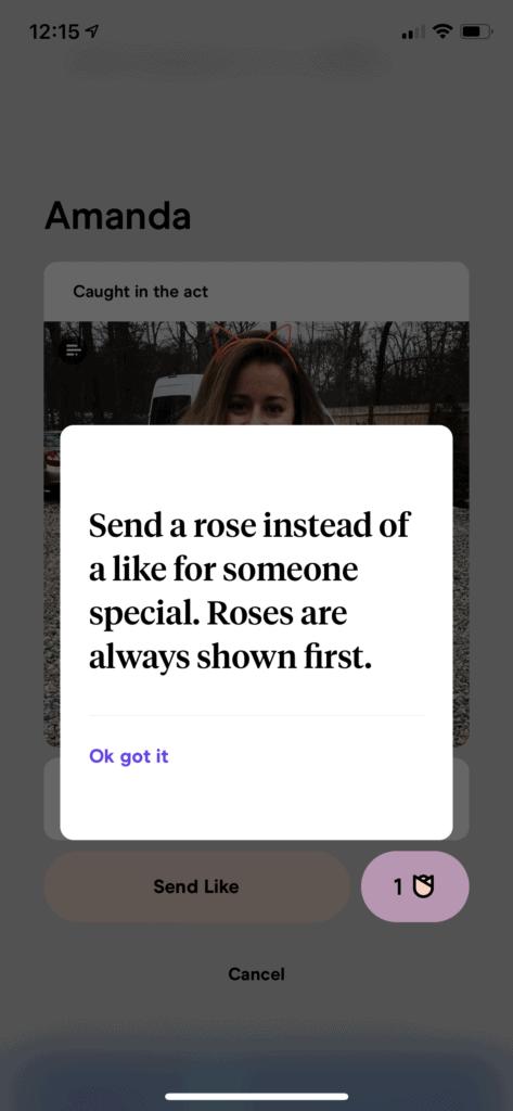 send a rose on Hinge