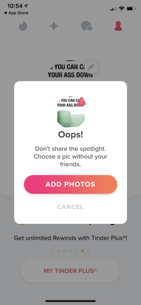 Add photos to get verified on Tinder