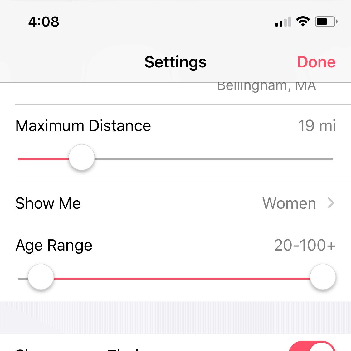 Tinder age and distance range