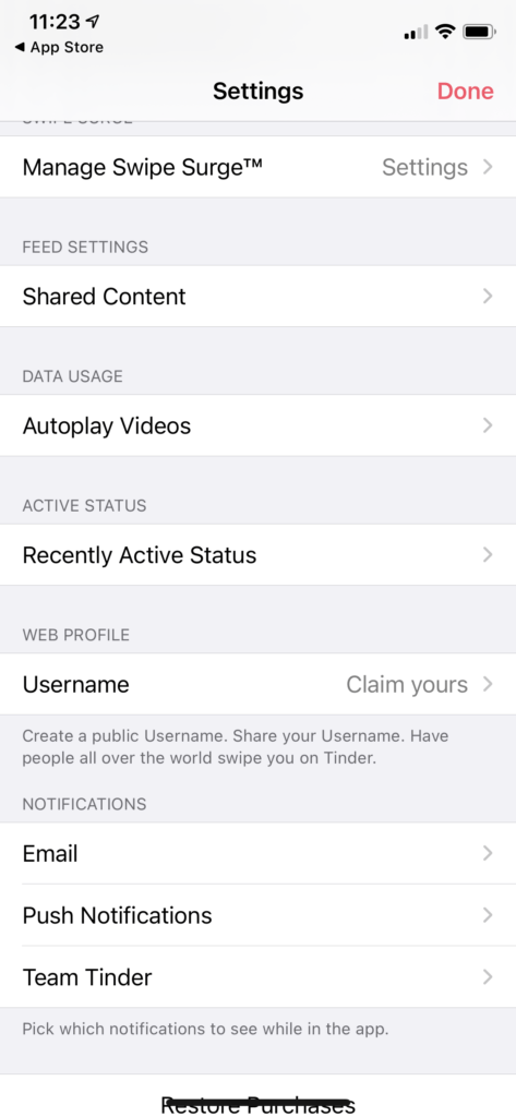 turn off recently active on Tinder