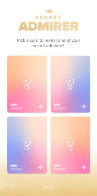 Tinder secret admirer card