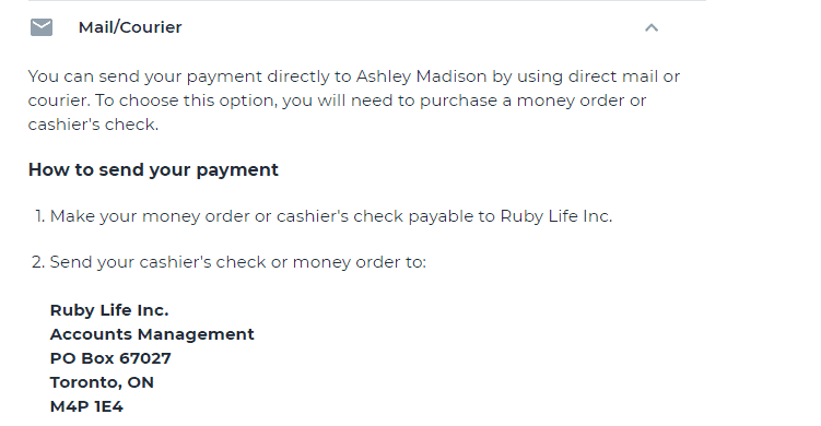 Ashley Madison Mail Courier