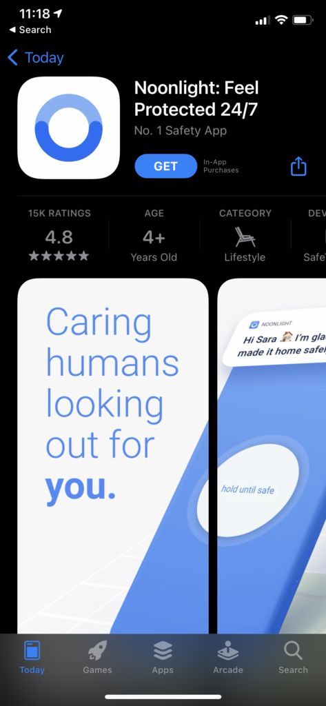 Noonlight on Tinder iOS