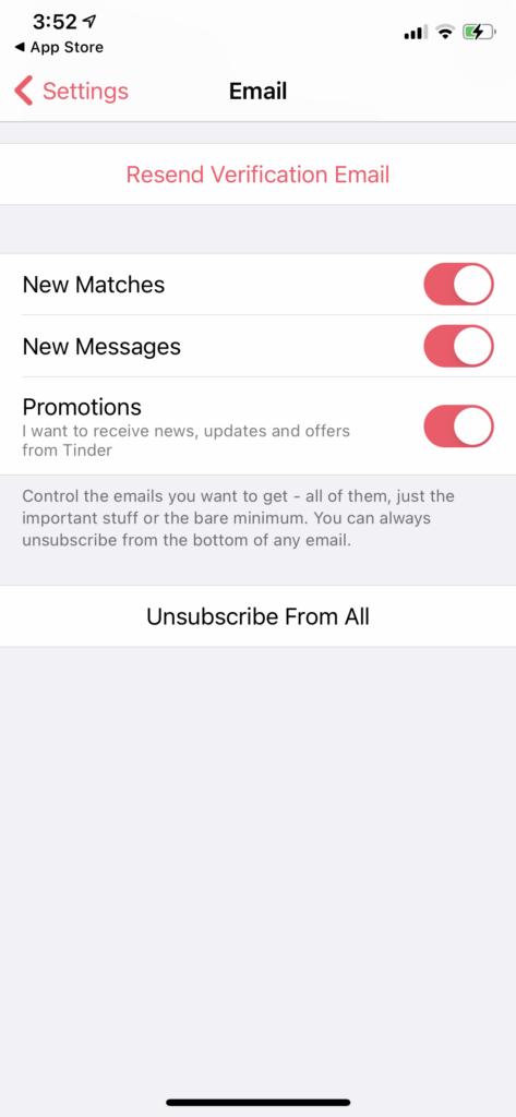 Tinder notifications settings menu